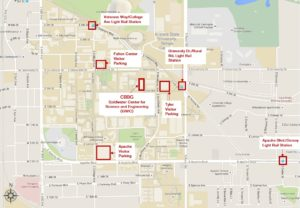 Campus map with CBBG building location on ASU Tempe Campus and visitor parking/light rail locations